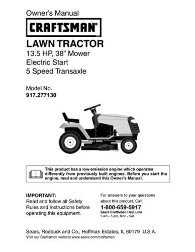 8 Sears Craftsman 13.5 HP Riding Mower Tractor Manuals