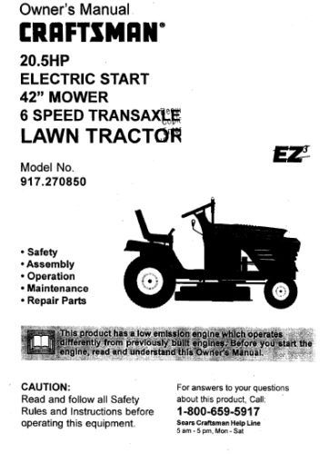 Sears Craftsman 20.5 HP Mower Tractor Manual 917.270850