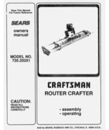 Sears Craftsman Router Crafter Owners Manual 720.25251 - $5.99
