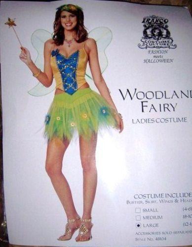 Ladies Sexy Woodland Fairy Costume SZ LG 12-14 NEW Wing