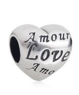 Authentic Sterling Silver 925 Heart Charm Bead Fits Pandora Bracelets 1pcs - $6.00