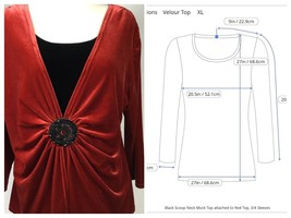 Notations Womens Red Black Velour Top Size XL 3/4 Sleeve Round Jeweled M... - $20.00