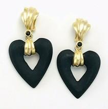 Vintage Matte Gold Tone Black Onyx Wooden Open Heart Chunky Clip On Earr... - $19.80