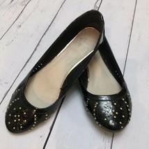 Report Women's Black Patent Leather Gold Studs Ballet Flats Shoes Sz 9 - $11.68