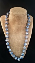 """Vintage Blue and White Glass Beaded Necklace Beads 22"""" Long - $18.00"""