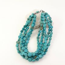 Multi Strand Turquoise Necklace 12mm Coin Beads image 7