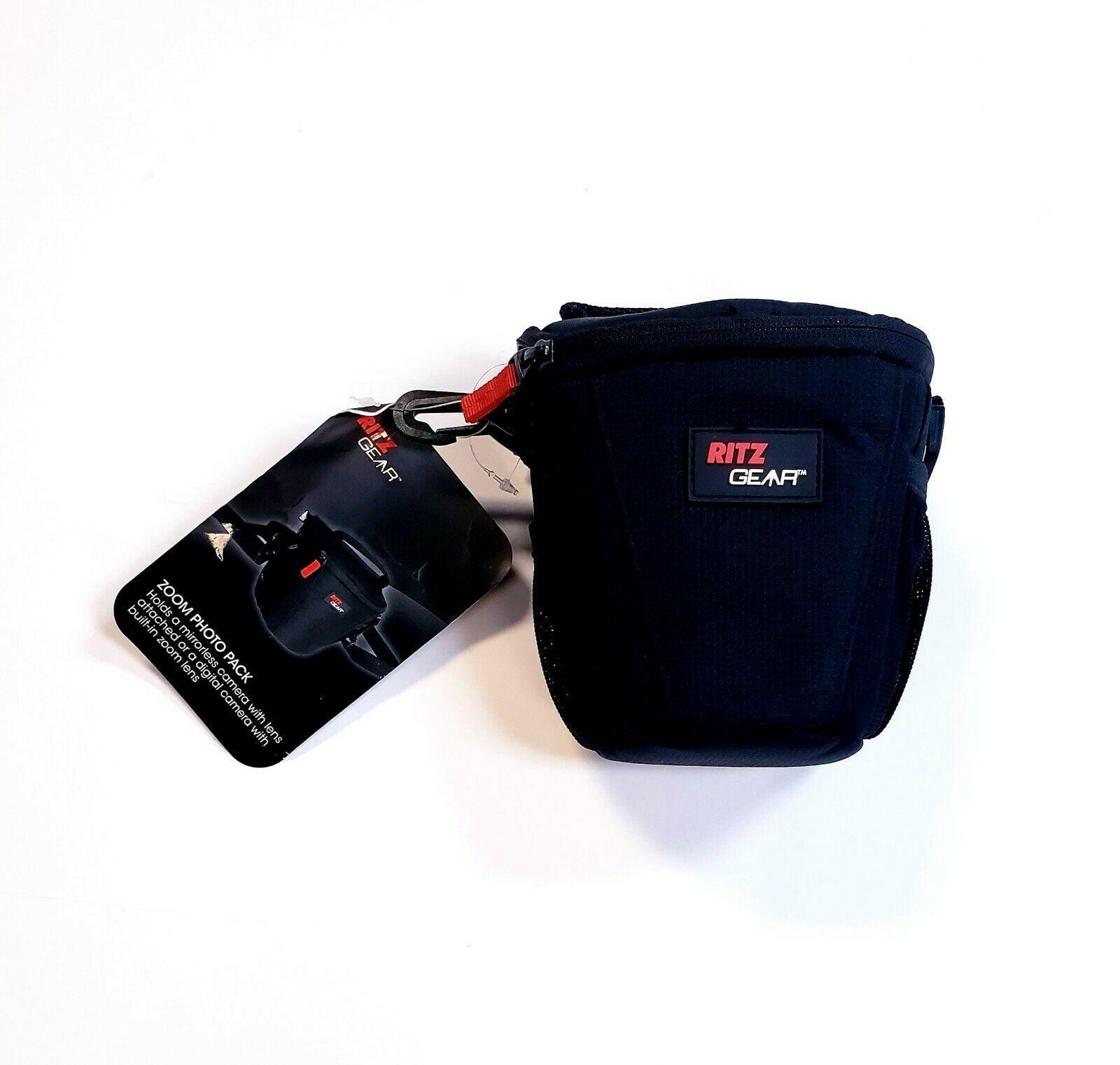 Ritz Gear Deluxe Zoom Photo Pack Foam Padded Camera Bag Mesh Side Pockets Black - $11.36