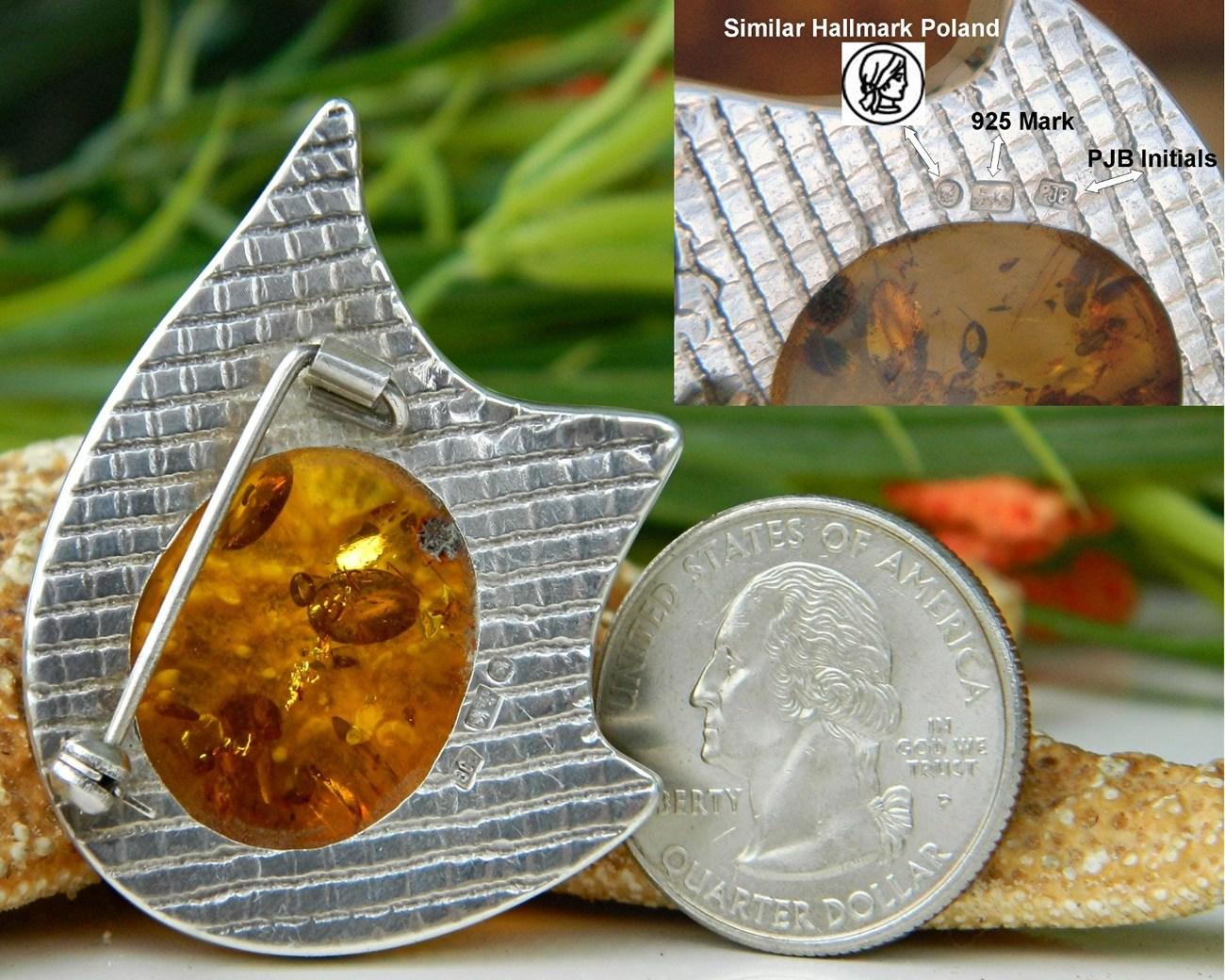 Amber Modernist Brooch Pin Sterling Silver Hallmarked Poland