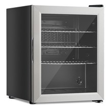 52-Can Beverage Refrigerator Cooler with Glass Door Stainless Steel - £184.87 GBP