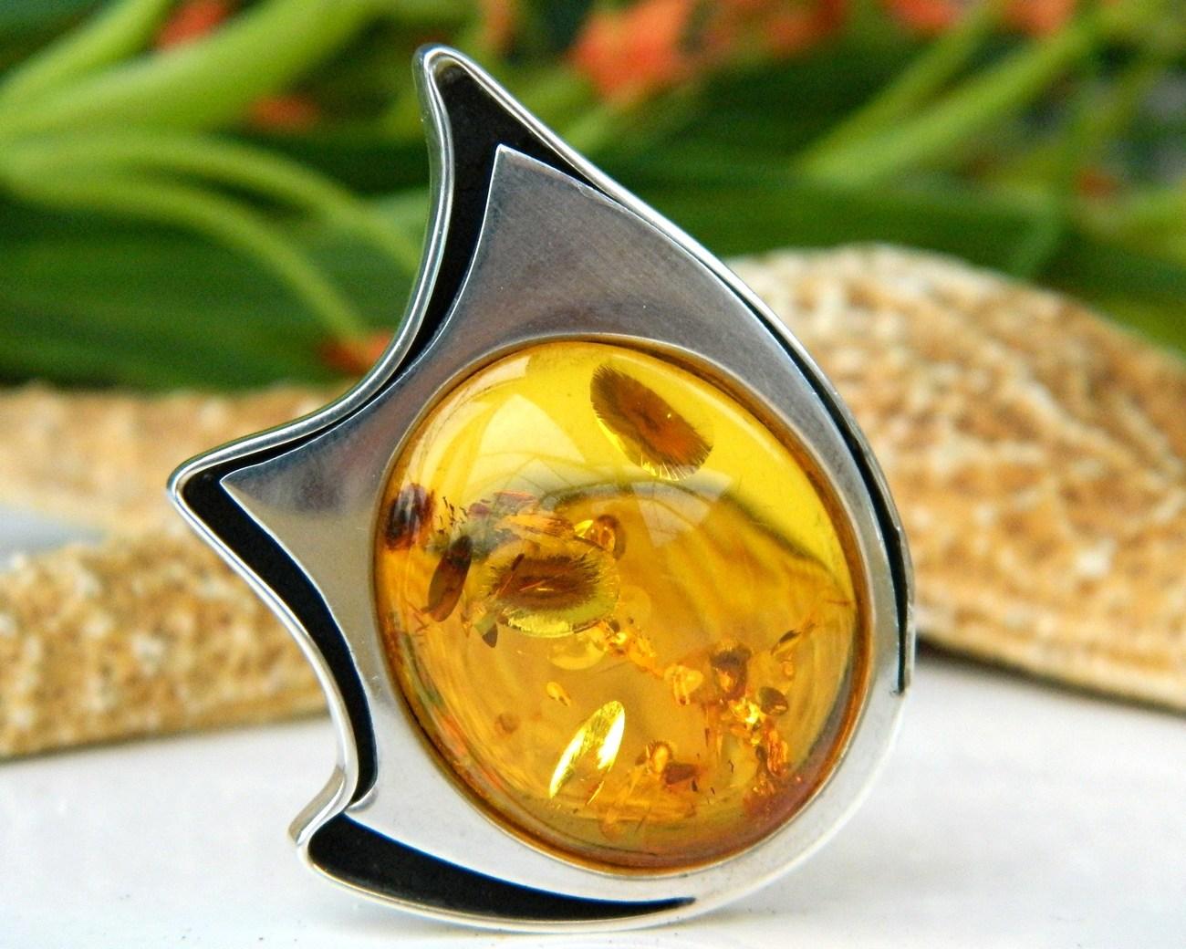 Amber modernist sterling silver brooch pin poland hallmark
