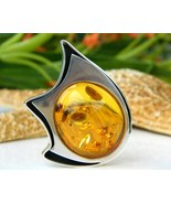 Amber Modernist Brooch Pin Sterling Silver Hall... - $89.95