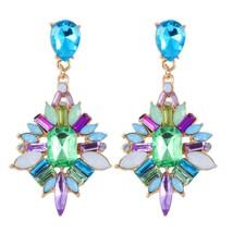 Colorful Bohemia Rhinestone Stud Earrings Water Drop Shape Push Back Clo... - $7.91