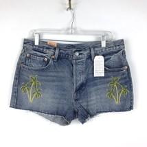 Levi's 501 Abgeschnitten Denim Shorts Damen Sz Bestickt Palmbäume Msrp - $28.51
