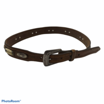 Justin Western Leather Beaded Metal Concho Belt with Buckle Womens Size ... - $24.78
