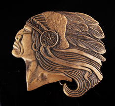 Indian Belt Buckle - Vintage Chief with headdress - native american buck... - $65.00