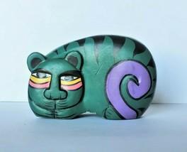 African Carved Wood Folk Tiger Cat Figure - $10.00