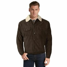 Men's Classic Button Up Fur Lined Corduroy Sherpa Brown Trucker Jacket image 2