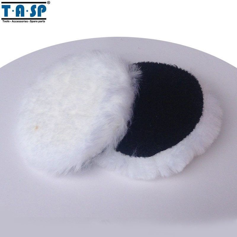 "Primary image for TASP® 2 X 125mm 5"" Inch Wool Polishing Bonnet Hook & Loop Buffing Pad For Car"