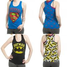 Batman Superman Allover Dc Comics Junior Racer Tank Top Shirt - $18.00