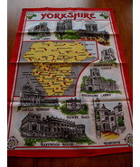 Vintage Yorkshire England UK Map Cotton Tea Dish Towel Souvenir Collecti... - $9.95