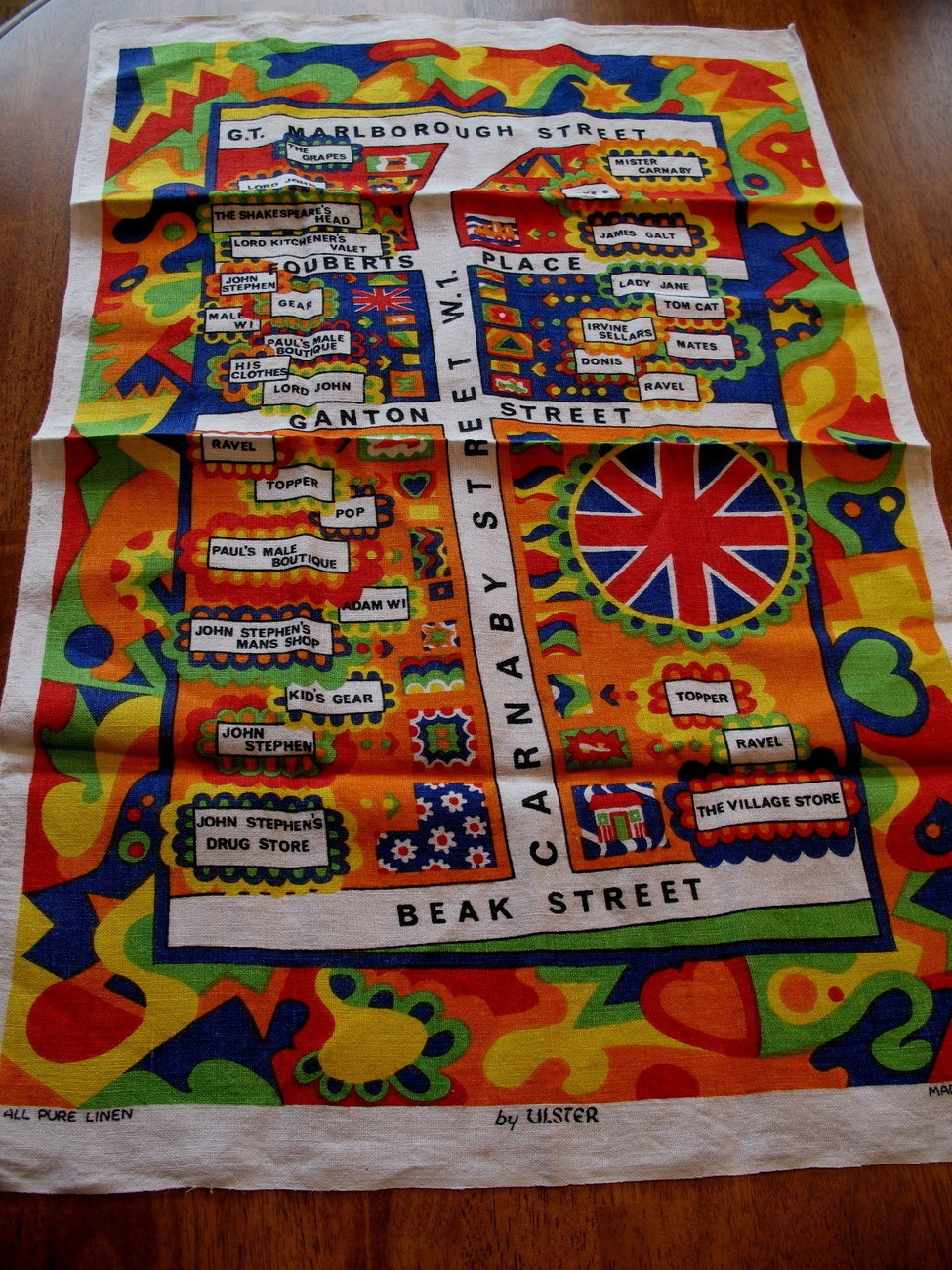 Vintage Carnaby Street London England Linen Tea Dish Towel Souvenir Collectible