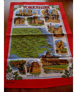 Vintage Yorkshire England UK Castle Cotton Tea Dish Towel Souvenir Colle... - $9.95