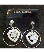 Dangle Earrings HeartShaped Silver Color - Pierced Ears - $5.00