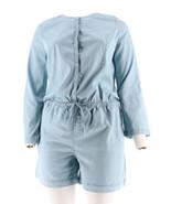 Halston Stretch Chambray Short Jumpsuit Light Indigo 22W NEW A277373 - $41.56