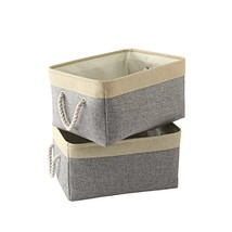 TheWarmHome Foldable Storage Basket with Strong Cotton Rope (Grey Patchw... - £22.98 GBP