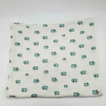 ADEN + ANAIS White Teal Elephant Baby Blanket Jungle Jam Muslin Swaddle ... - $14.99