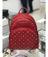 NEW MICHAEL KORS Leather ABBEY MEDIUM FRAME OUT STUD Backpack Scarlet $398 - $168.29
