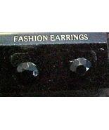 Black Button Earring - Pierced Ears - $4.95