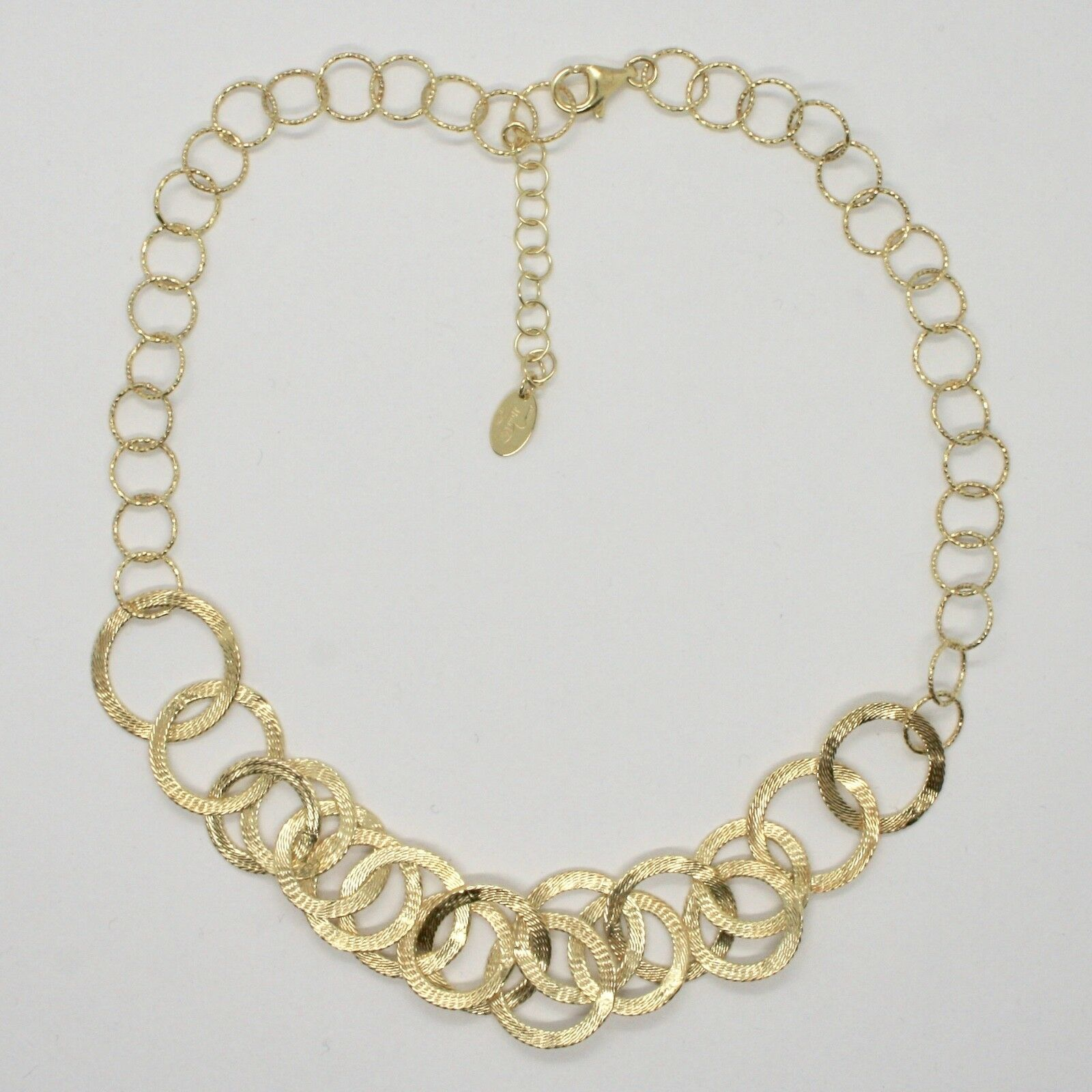 Choker Necklace Silver 925 Foil Gold with Circles by Maria Ielpo Made in Italy -