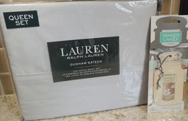 Polo Ralph Lauren Dunham QUEEN Sheet Set SILVER Free Gift FAST SHIP  - $79.15