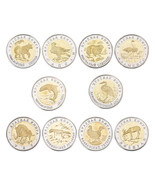 WR 1993-1994 Russian Gold/Silver Plated Coins 50 Rubles Bi-Metallic Wild... - $20.40