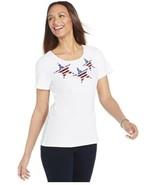 Karen Scott Women's Sequined Star Print Knit Bright White Top Size Small  - $10.79