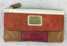 Fossil Brown Red Orange Leather Clutch Wallet Flap Zipper White Trim - $24.74