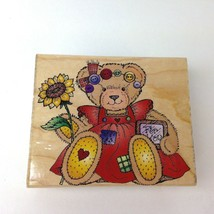 Hero Arts rubber stamp Country Bear With Sun Flower Vtg 1996 Made in USA kitsch - $5.93