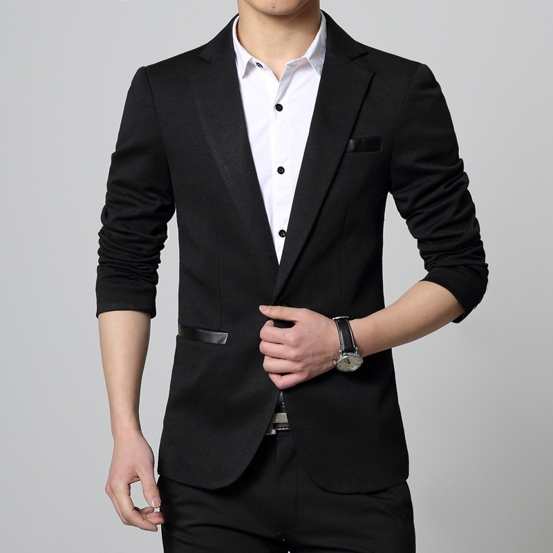 New Fashion Autumn and Winter Men Black Suit Jacket Men's Casual Business Suit J