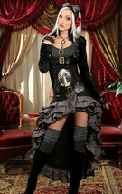 Black Velvet Openbust Gothic Victorian Steampunk Officer Crop Jacket Tai... - $96.41