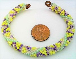 Spring Colors Bead Crochet Rope On Copper Bracelet 1 - $27.19
