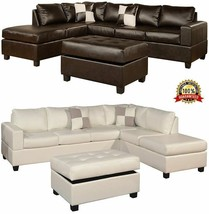 Corner Leather Sofa Set Chaise Reversible Storage Ottoman Living Room Fu... - $1,412.93