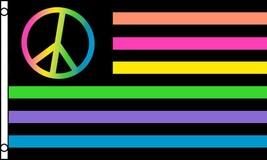 NEON RAINBOW PEACE USA 3 X 5 FLAG banner FL700 USA AMERICA gay pride 3x5... - $6.27