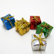 5 x 3/4 in. Foil Wrapped Christmas Gift #31 Present Dollhouse Miniatures by Beth - $3.53