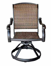 Wicker Swivel Chairs Cast Aluminum Dining Outdoor Patio Furniture Set of 8 image 2