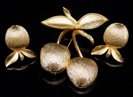 Vintage Sarah Coventry Brooch Earrings Set GOLDEN CHERRIES From 1964 - $16.95