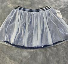 Girls Size Large Kandy Kiss Sequins Mesh Skirt Silver Navy Blue New - $20.00