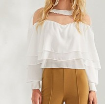 White Mesh Contrast Layered Ruffle Top Round Neck Weekend Casual Blouse - $51.99