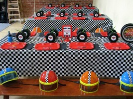2pk Black and White Checkered Plastic Racing Table Cover Nascar CARS Theme - $7.69