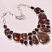 "Leopard Skin Faceted Amethyst Gemstone Fashion Jewelry Necklace 17-18"" U... - $21.03"